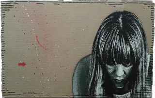 Long haired girl, aérosol sur carton, 42x66x1cm., 2016